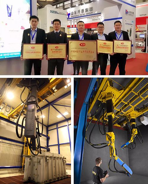"""2018年,开泰自主研发国内首台智能喷砂机器人 填补了国内行业技术空白 在国际展会上,开泰自主研发的""""叶片、分丸轮""""、 """"表面抛喷丸处理智能机器人""""多次获奖"""